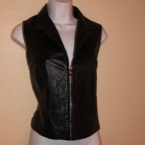 WILSONS LEATHER black collared vest- L
